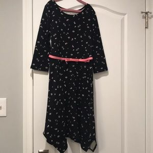 NEW Girls Sz 14 SO Black Floral Belted Dress-Cute!